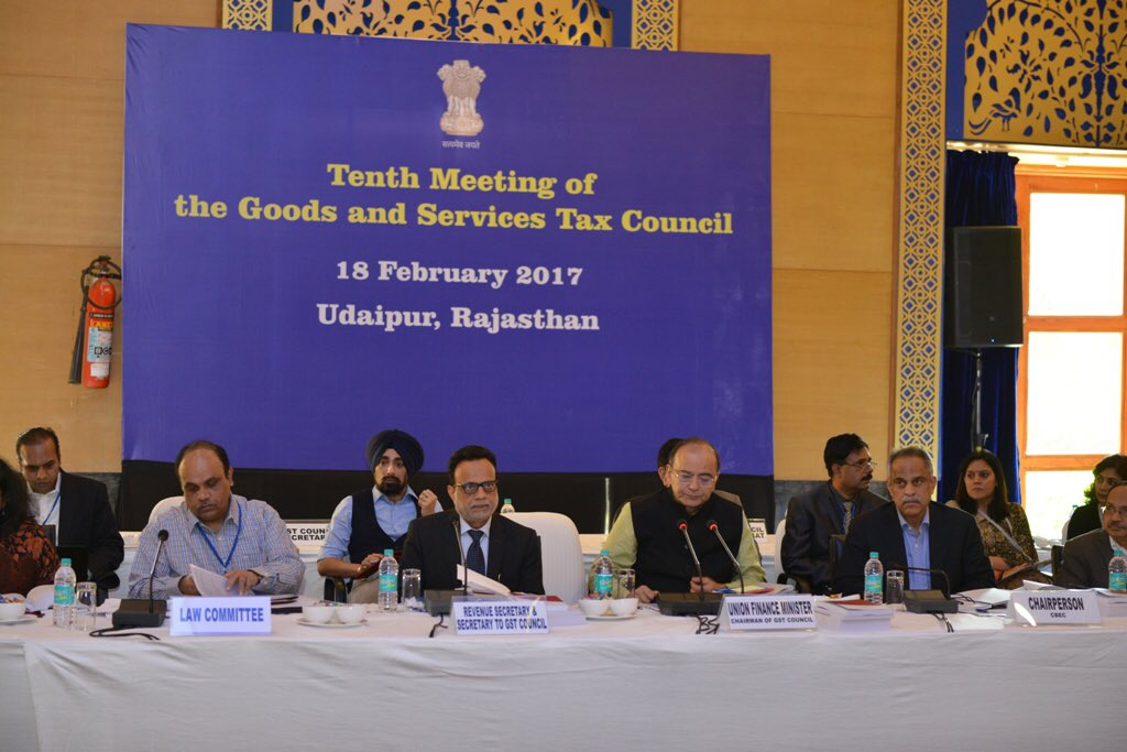 Chairing the 10th meeting of the GST Council in Udaipur, February 18,...