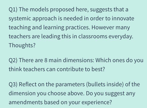 Créative Classroom Models, questions are here #edchatMENA https://t.co/mBe8I56TfS