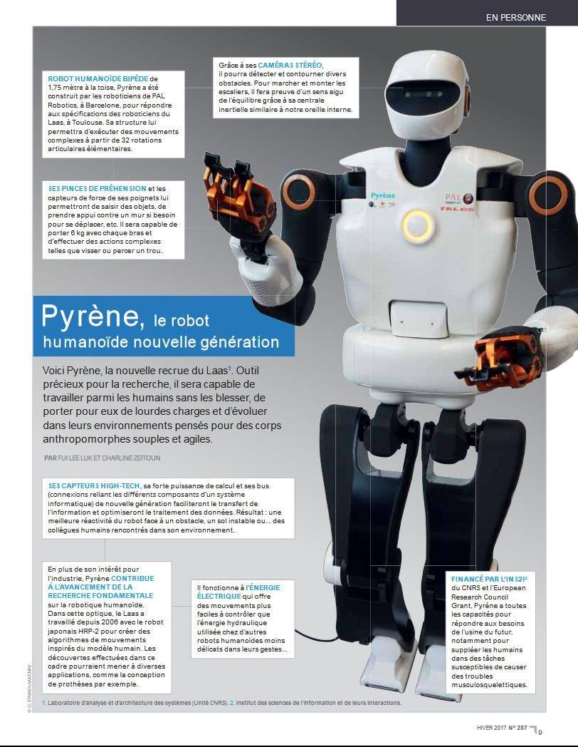 #Pyrène, le #robot #humanoïde nouvelle génération du @LaasCNRS en pleine page de #CNRSleJournal n°287  https:// lejournal.cnrs.fr/sites/default/ files/numeros_papier/jdc287_complet_bd3.pdf &nbsp; … <br>http://pic.twitter.com/uESKIK1voa