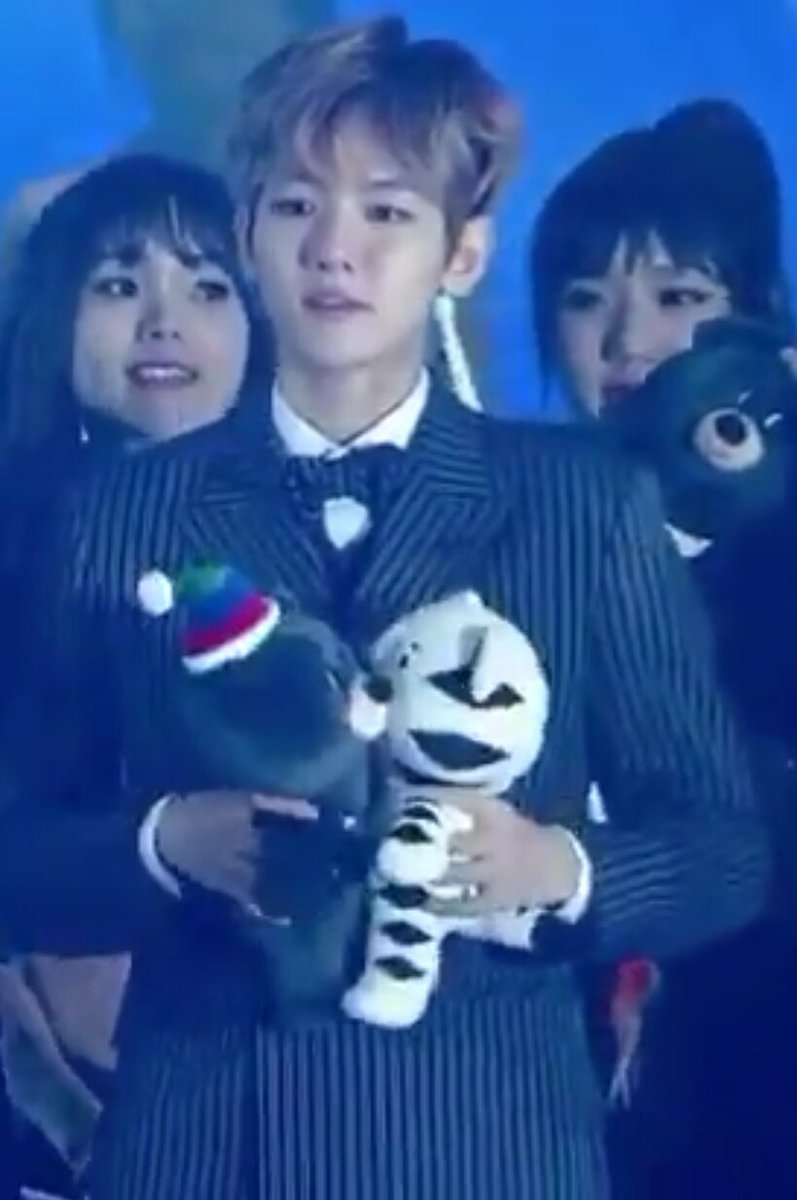 My tears have tears ㅠ~ㅠ baekhyun kissed the small white tiger doll, an...