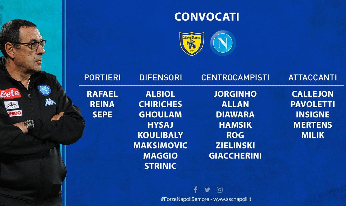 📝 i convocati di #Sarri per #ChievoNapoli ⚽ @SerieA_TIM #ForzaNapoliSe...