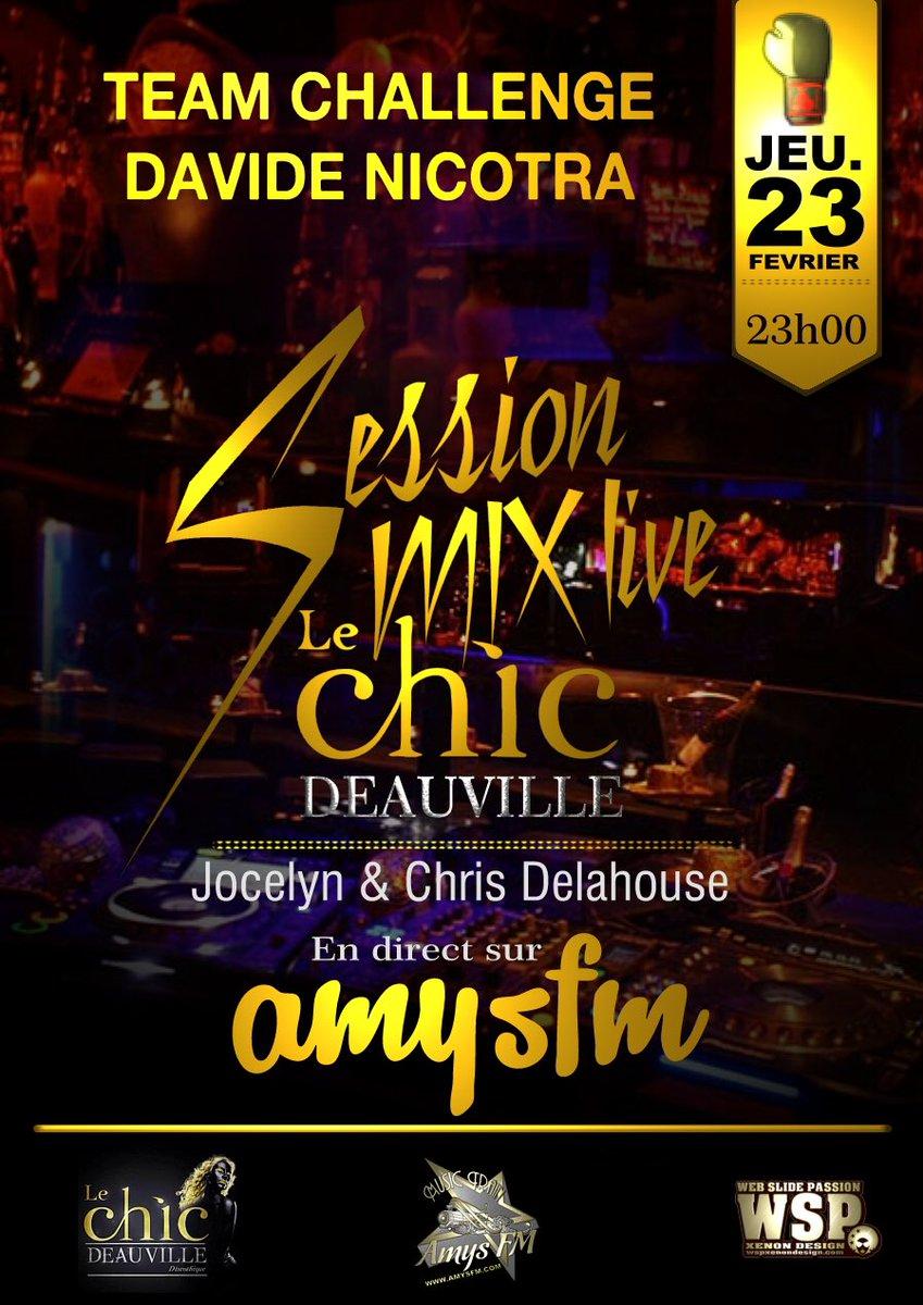 Grande soirée au #lechic #deauville jeudi 23 février @Feuillatte_fr @feuillatte @LeChicDeauville #Sessions #mix #live #amysfm #radio<br>http://pic.twitter.com/u13z1XA24N