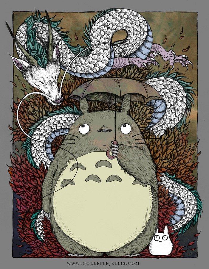 Totoro et Haku réunis dans ce superbe fan-art signé Collette Jellis #Totoro #Ghibli #StudioGhibli #Chihiro<br>http://pic.twitter.com/NWkD8S0t5v