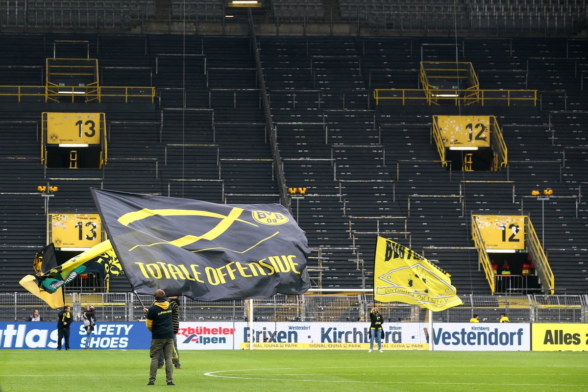 B R Football On Twitter There S An Empty Space At Borussia Dortmund Where The Yellow Wall Normally Is