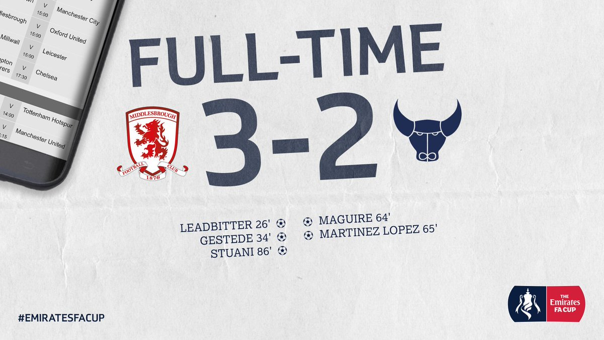 FULL-TIME | Now that's a cup tie! #Boro are in the @EmiratesFACup quar...