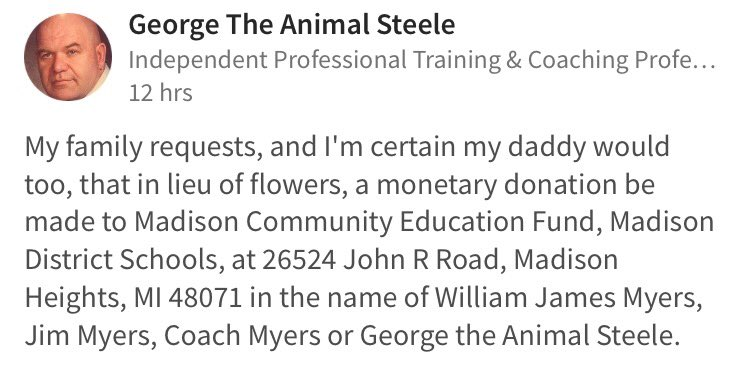 Post from George the Animal Steele's family.  Please share: https://t.co/PNvUerssZY
