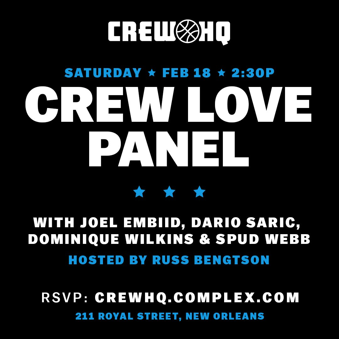 Catch me today at 2:30 p.m. on the Crew Love Panel with @JoelEmbiid @DWilkins21 @SpudDunks at All Star Weekend's Crew HQ! https://t.co/PjLpO1eD71