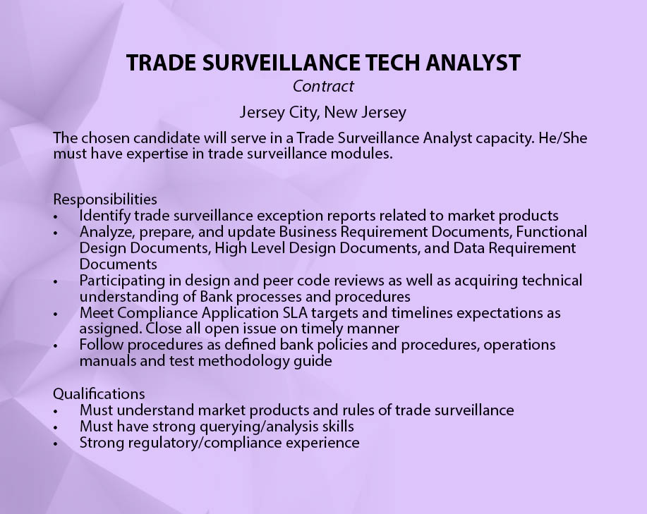 Trading systems analyst jobs