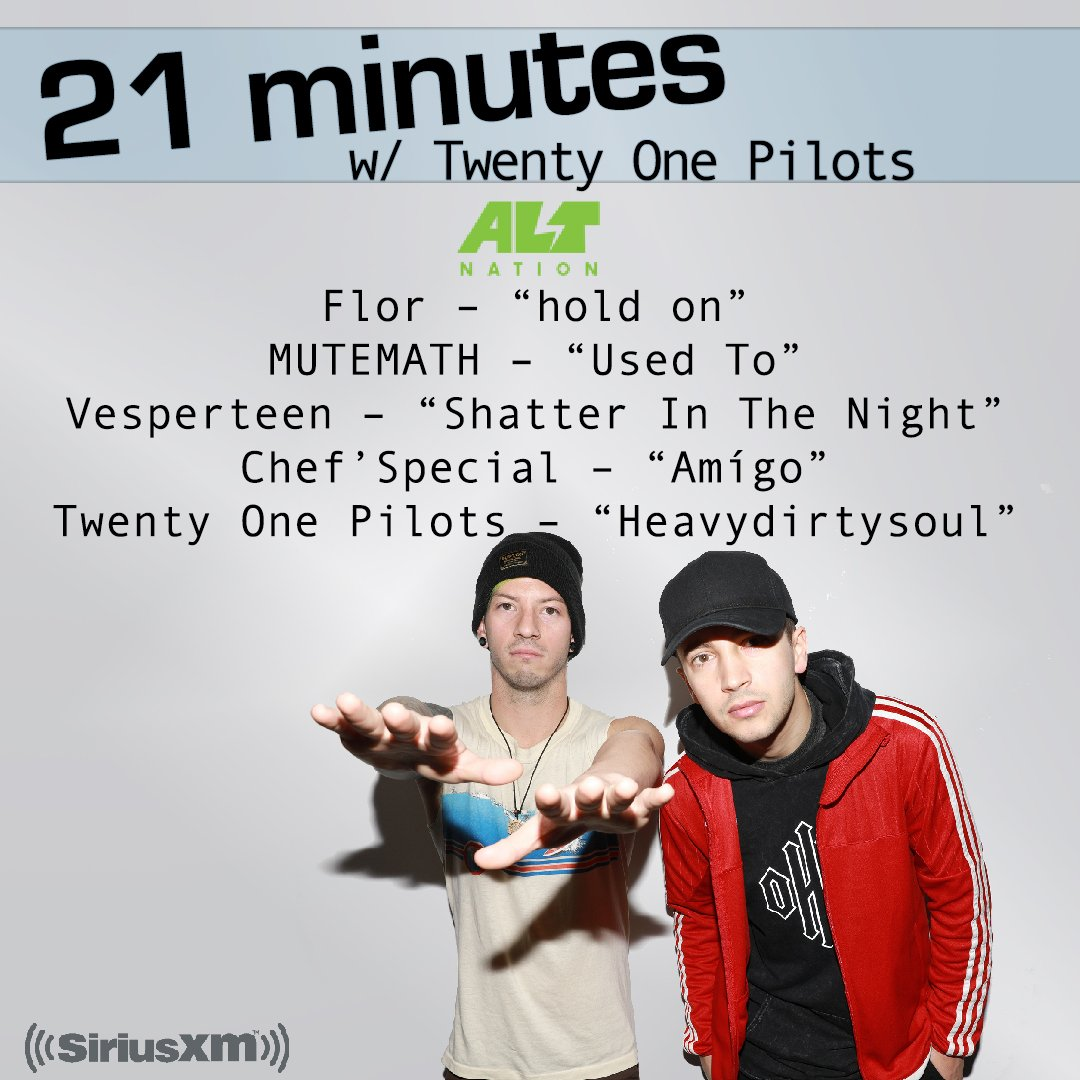 here's the playlist from our 21 minutes w/ @twentyonepilots! ...and remember you can hear this again on-demand! https://t.co/eD377ibeU4