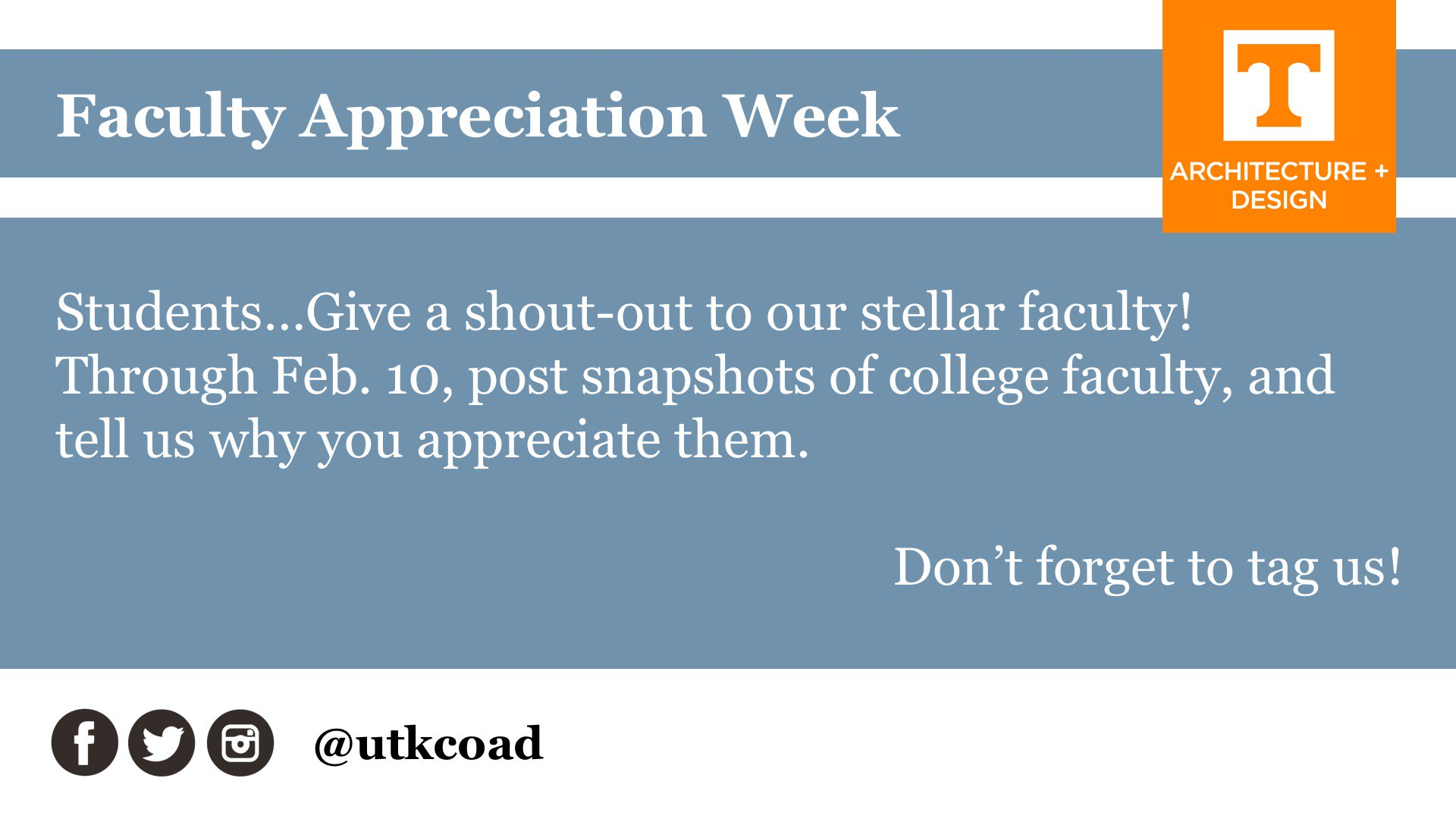 Students, tell (or show) us which faculty you are celebrating! Faculty Appreciation Week: One more reason to celebrate our stellar faculty! https://t.co/RfldMrwj6x
