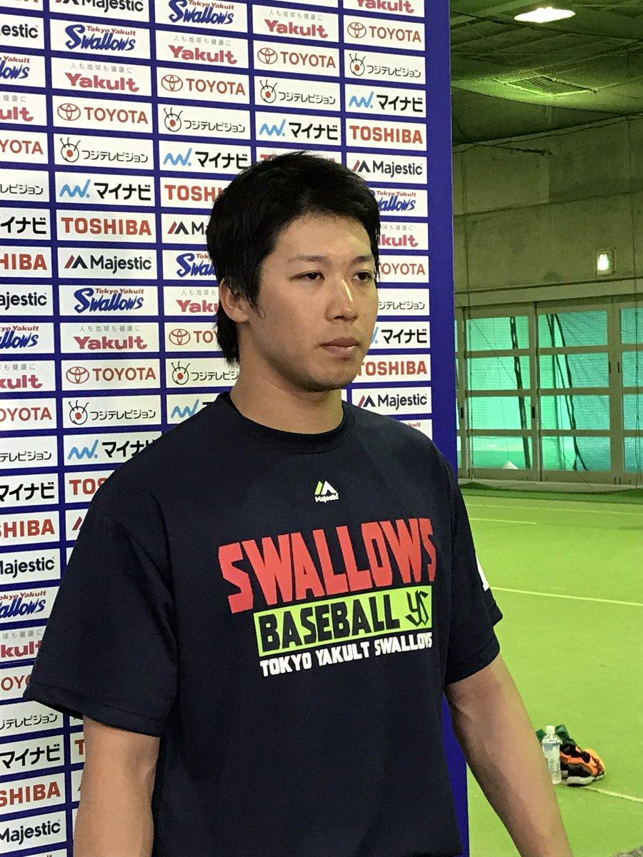 山田選手WBC試合球についての囲み取材。 #swallows