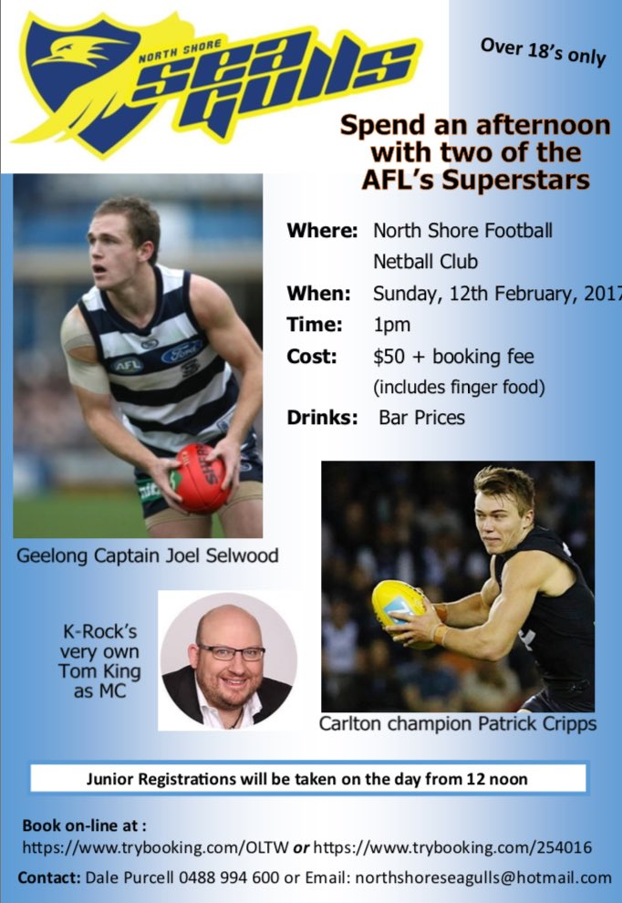@NthShoreSeagull spend an afternoon with @joelselwood14 & @patrickcripps this Sunday