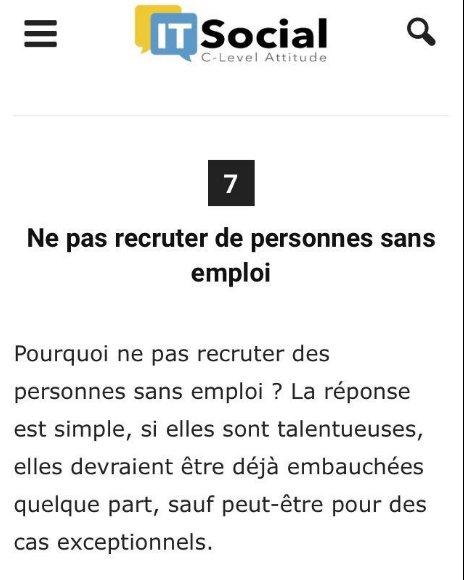Grave, absurde et choquant, ce conseil d'@itsocial_fr aux recruteurs. #Emploi #Recrutement  https://t.co/6XSTPZsLrt