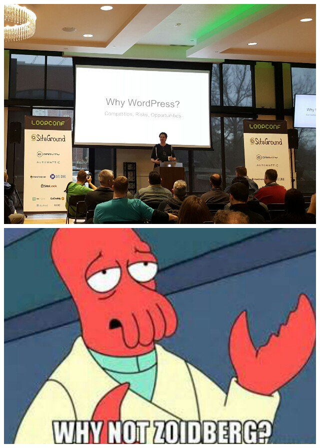 Josh Koenig delivering his Why WordPress talk, a gif of Ziodberg below it asking,