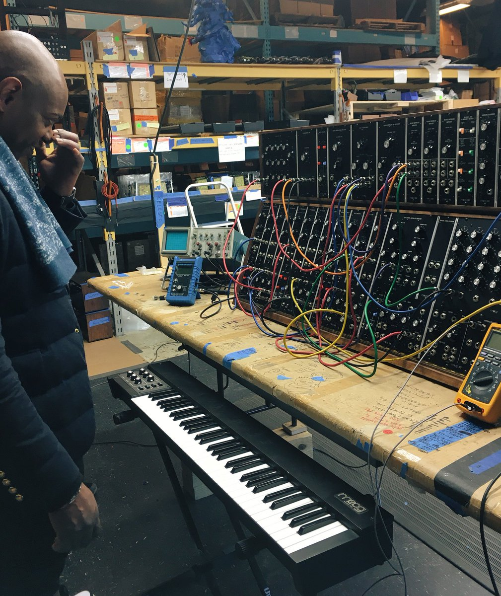 #DaveChappelle wrapping his head around a #Moog Modular. #moogfactory