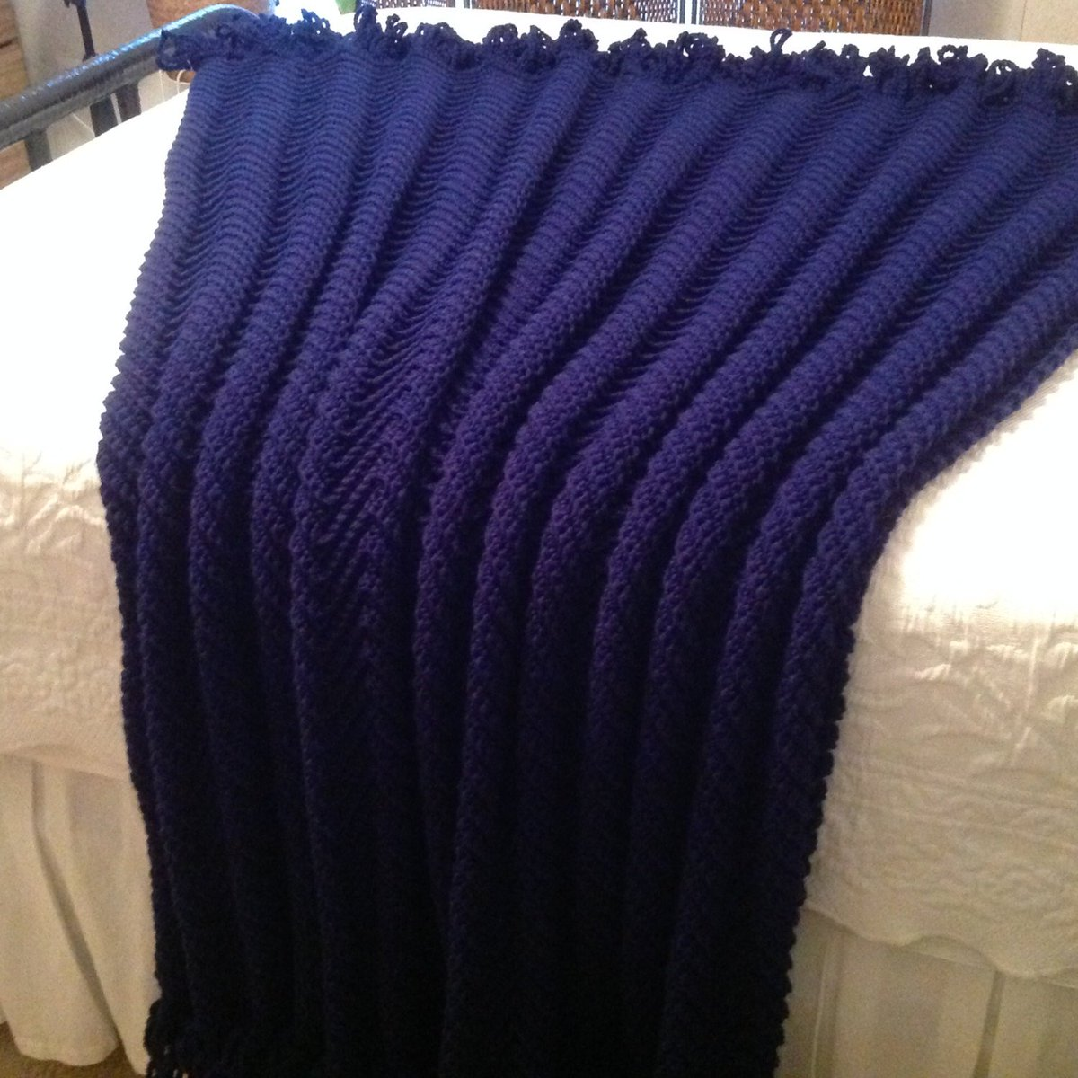 Large Navy Afghan, Hand Crocheted Throw, Boho Chevron Blanket, In-law G…  http:// tuppu.net/a67e450d  &nbsp;   #Etsy #MilitaryGift <br>http://pic.twitter.com/BBA09nXOjn