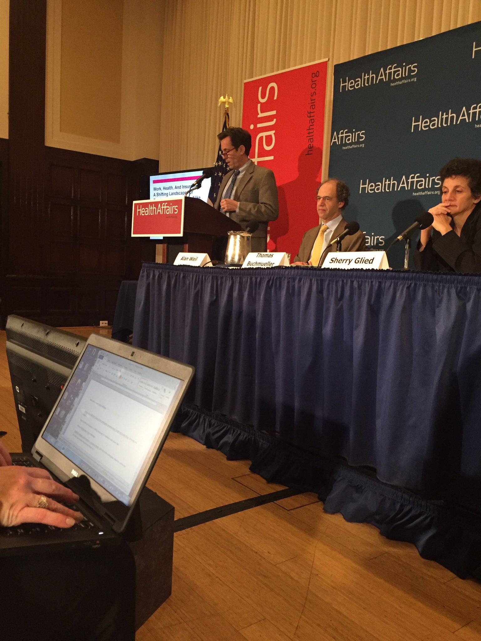 First up, @Health_Affairs briefing: Thomas Buchmueller @MichiganRoss sharing results of demographic changes in workforce. #WorkandHealth https://t.co/bbktizcHdL