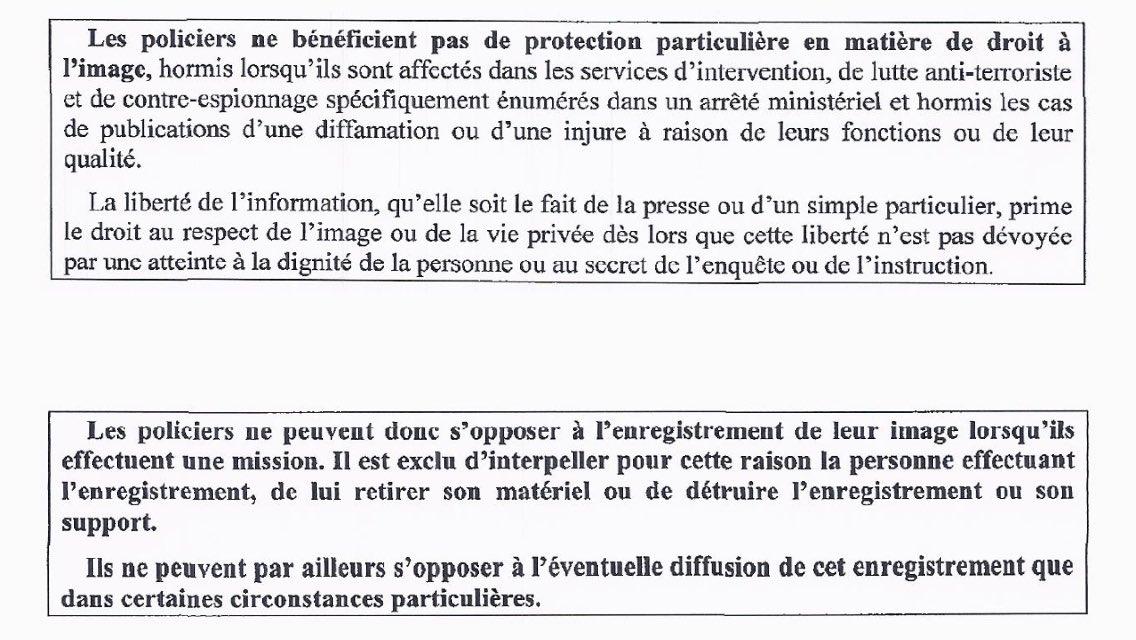 Pour rappel, à tout le monde, en plein Paris comme en banlieue ou à la campagne : vous avez LE DROIT de filmer la police quand elle agit