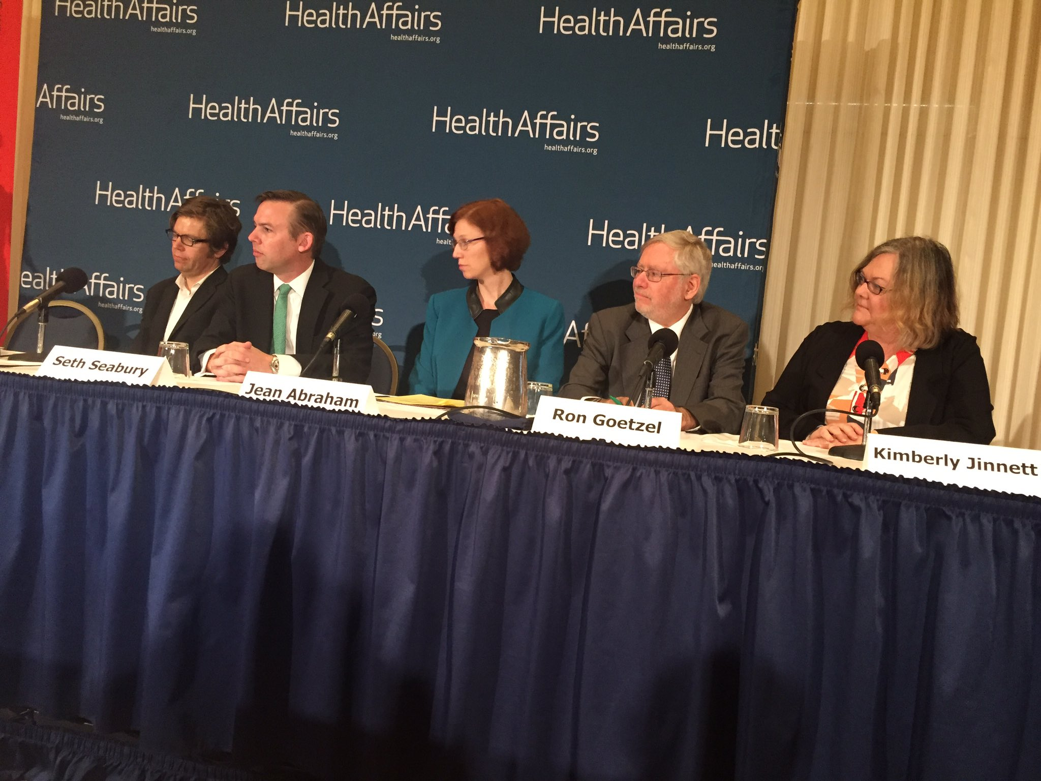 Full panel at @Health_Affairs briefing on Work, #Wellness, & #Health. @drehkopf @seth_seabury @abrah042 @Ron_Goetzel #WorkandHealth https://t.co/ok988voeN3