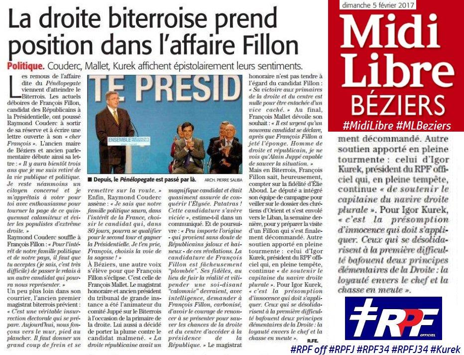 Le #soutien renouvelé du #RPF off ( @RPF_officiel ) et #RPF34 à François #Fillon ( #MidiLibre / #MLBeziers 05/02/17) - #Béziers #Herault<br>http://pic.twitter.com/lWujki6Otb