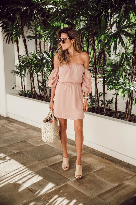 Blush Off The Shoulder Dress Under $100