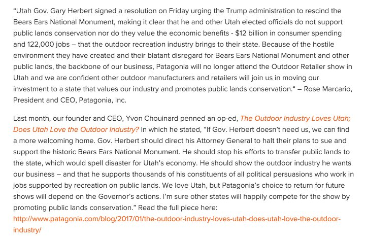 We are withdrawing from Outdoor Retailer in Utah in response to @GovHerbert's decision to rescind #ProtectBearsEars protection.