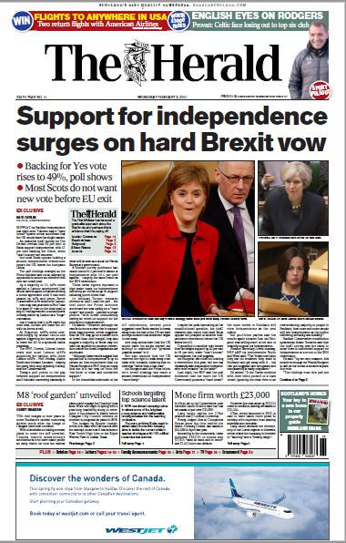 Wednesday's front page of The Herald https://t.co/orOzCIFKBh