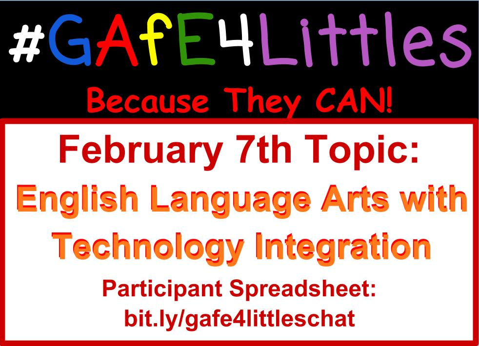 #gafe4littles chat coming up at 5 PM PST!!! Questions are posted here: https://t.co/Yh2qbFkC6C #elemchat #kinderchat #edtech #elachat https://t.co/LEPwKTpUwS