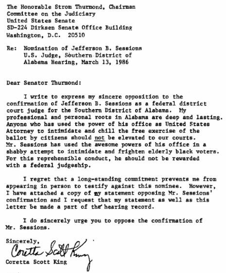 Coretta Scott King letter on Sessions