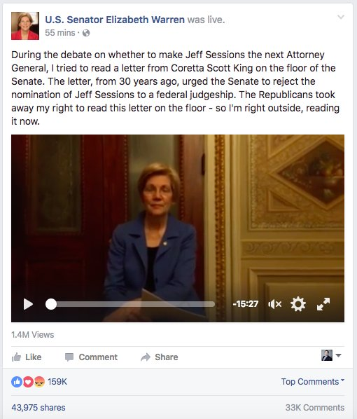 Need more proof? Warren's Facebook reading of the King letter is at 1.4M views, 40K+ shares. https://t.co/iphhqIjtCJ