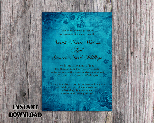 DIY Rustic Wedding Invitation Template Editable Word File Instant Download Printable Blue Wedding Invitation Vintage Floral Invitation
