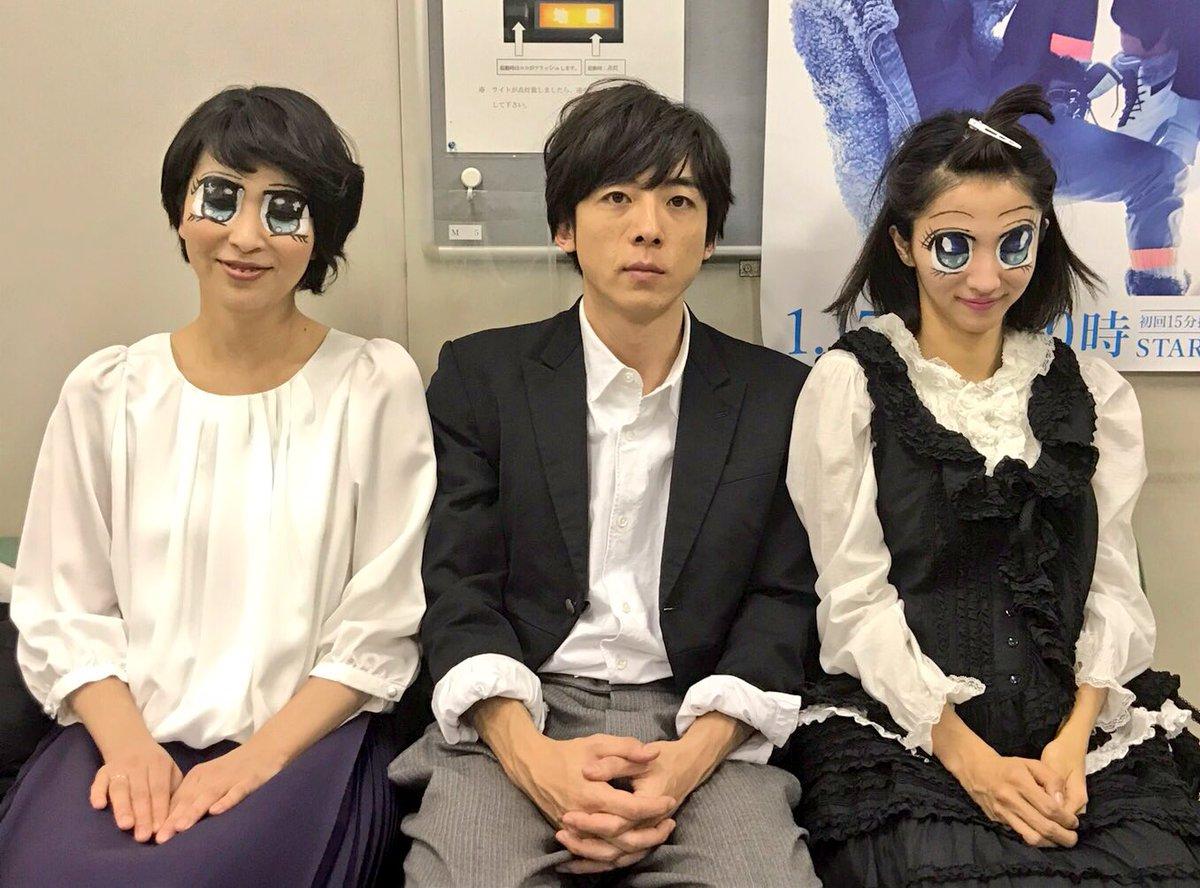 【第4話オフショット】 少女漫画風メイクの松さん&満島さんに挟まれる一生さん・・・ カルテットの4人…