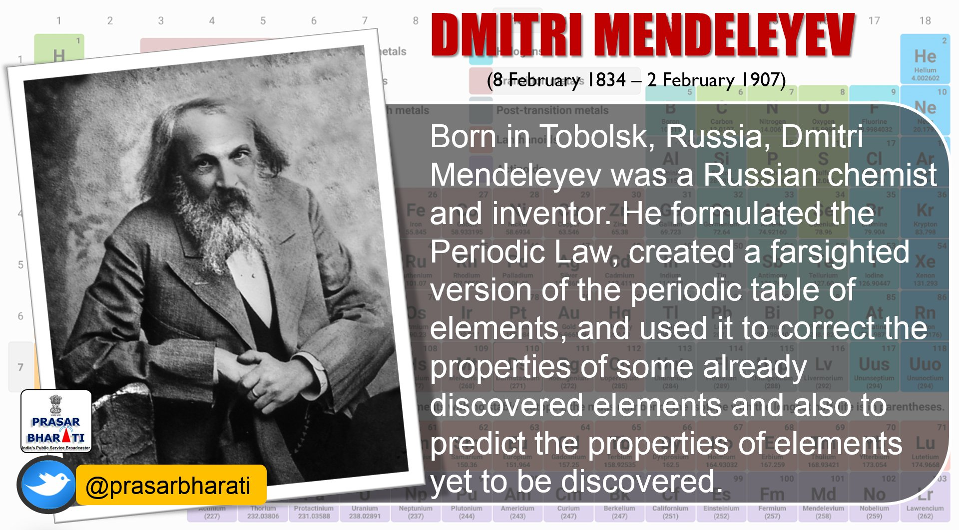 Who discovered periodic table of elements images periodic table prasar bharati on twitter russian chemist dmitrimendeleyev who prasar bharati on twitter russian chemist dmitrimendeleyev who gamestrikefo Images