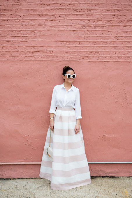 Pink White Stripe Long Skirt