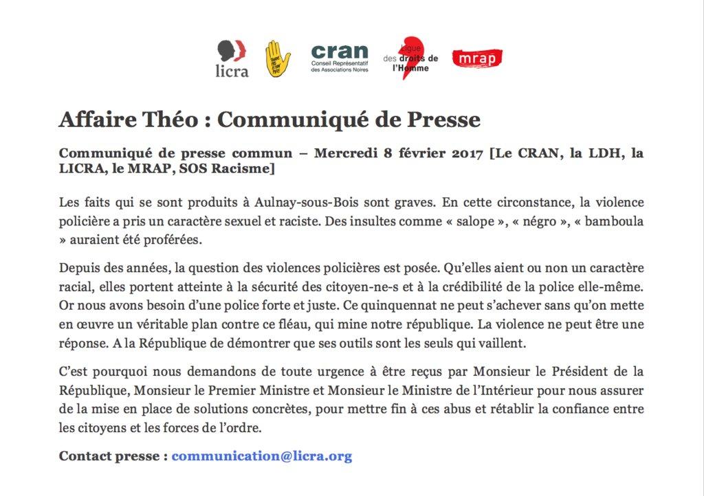 #Communiqué de presse #Justicepourtheo @SOS_Racisme @MRAP_Officiel @Le_Cran @LDH_Fr https://t.co/Jev5mbFJnP https://t.co/plOZrGkGA4