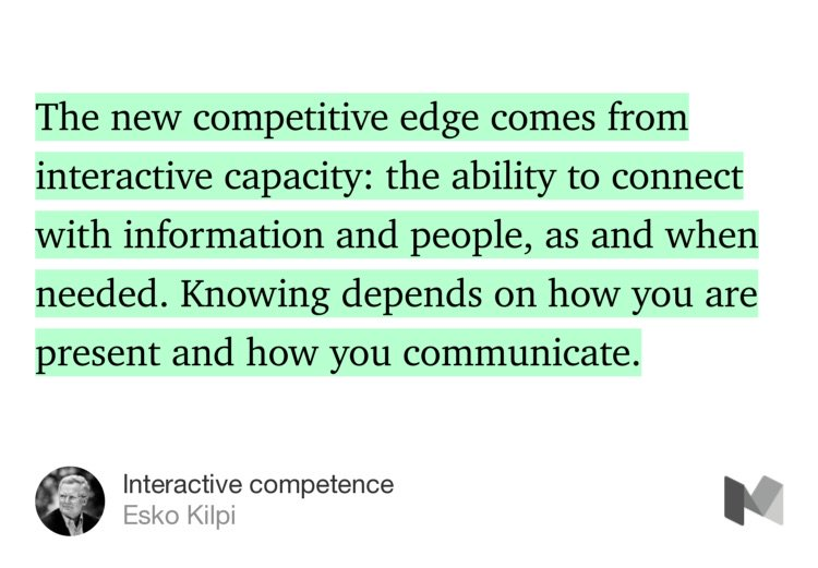 """Interactive competence"" by @EskoKilpi /knowledge doesn't exist w/in us but rather btwn us https://t.co/RI8U4p9IyH https://t.co/jJoht8RHJz"
