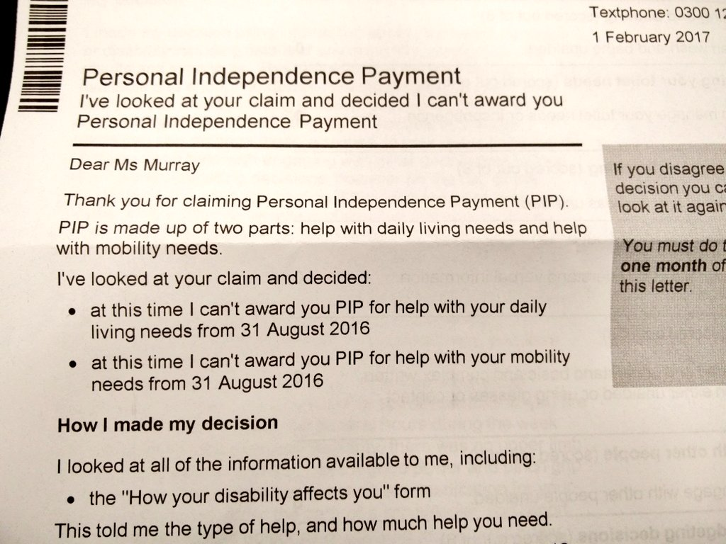 "ellen murray ♿🚲 on twitter: ""got my pip decision letter! they"