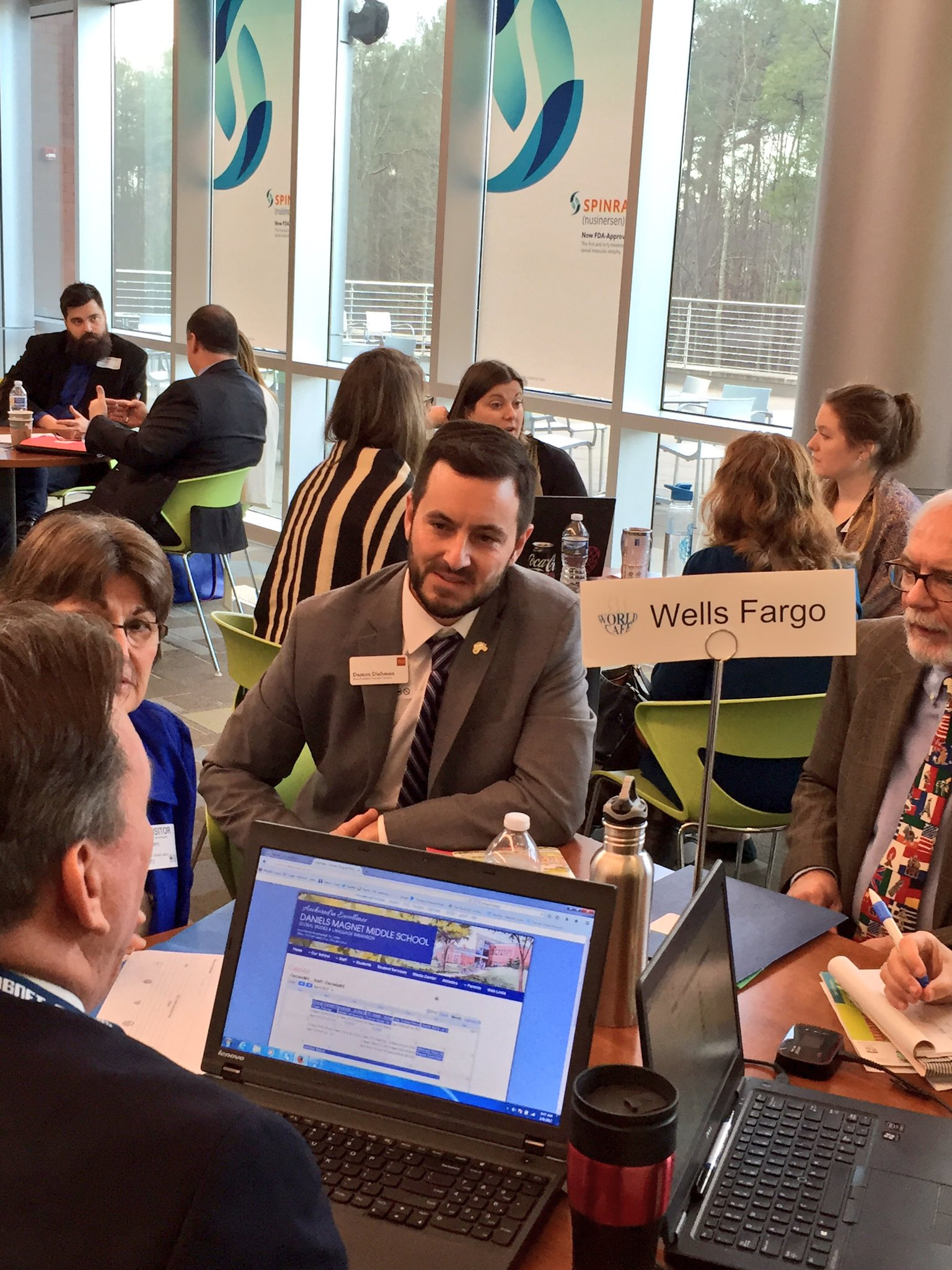 Event sponsor @WellsFargo and @HilburnAcademy educators collaborating on #PBL for Wake County students. #WakeEdWorldCafe https://t.co/7pllREF0SM