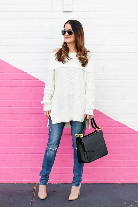 Ivory Off Shoulder Sweater