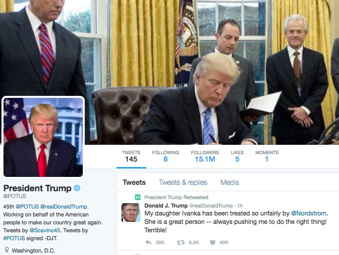 Christina Wilkie On Twitter The Official Potus Account Just Retweeted Trump S Attack On Nordstrom That S A Taxpayer Funded Account Being Used To Benefit Trump S Kid Https T Co 4x3j8e1on7