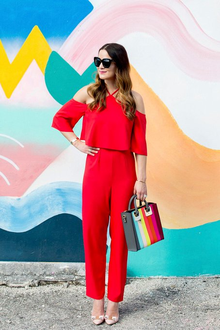 Red Ruffle Halter Jumpsuit