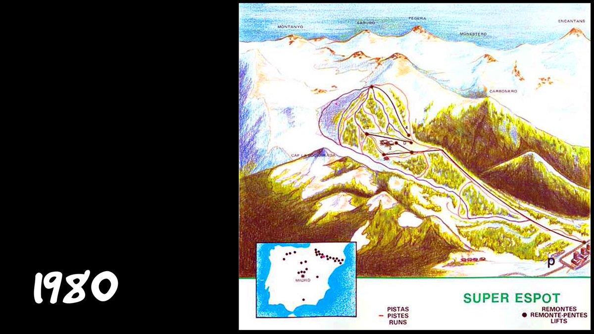 Alguns dels primers plànols de pistes d'Espot: 1972, 77, 80 i 86. Imatges d'un article de @nevasport. @VisitEspot @visitpallars @Vallsdaneu