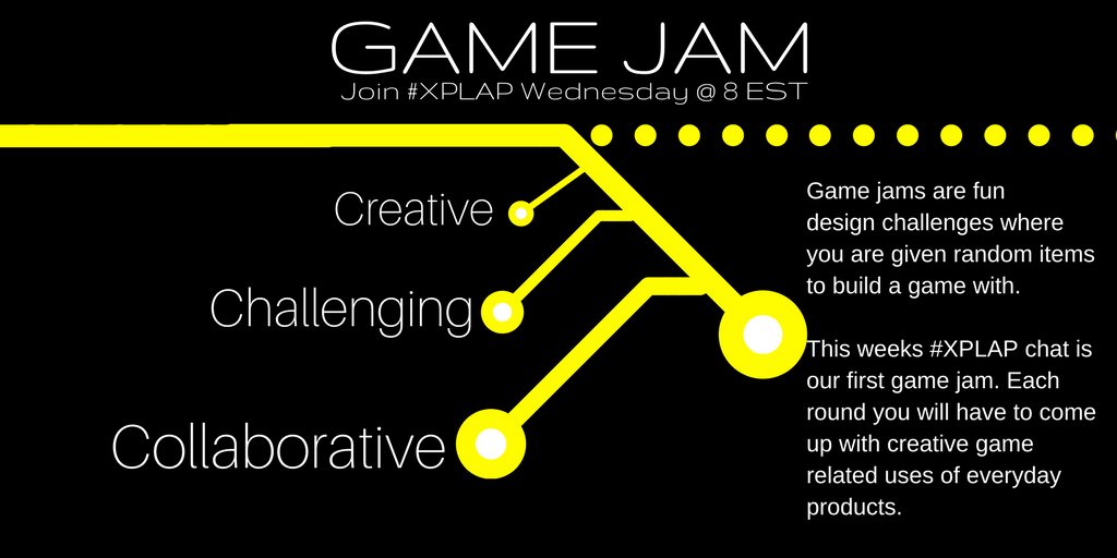 Welcome to our 1st Game Jam on #XPLAP!  Please introduce yourself & get excited! This is going to be an awesome hour of game design! #tlap https://t.co/ZaPyqPaFVI