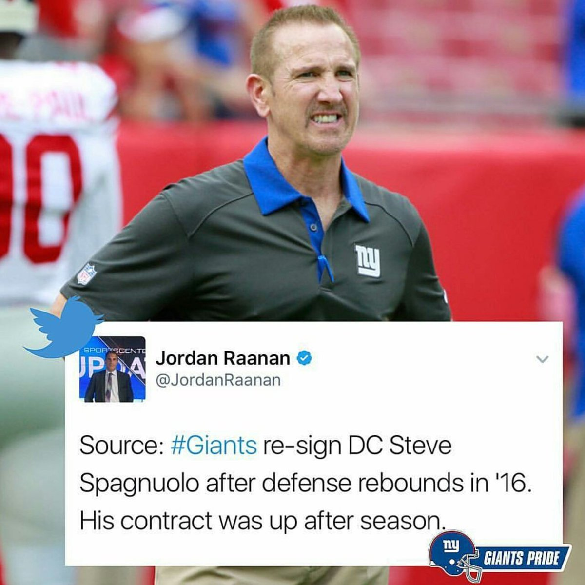 RE-SIGNED #deserved #Giants #GiantsPride #Coach #defense <br>http://pic.twitter.com/wO5pL4kax7