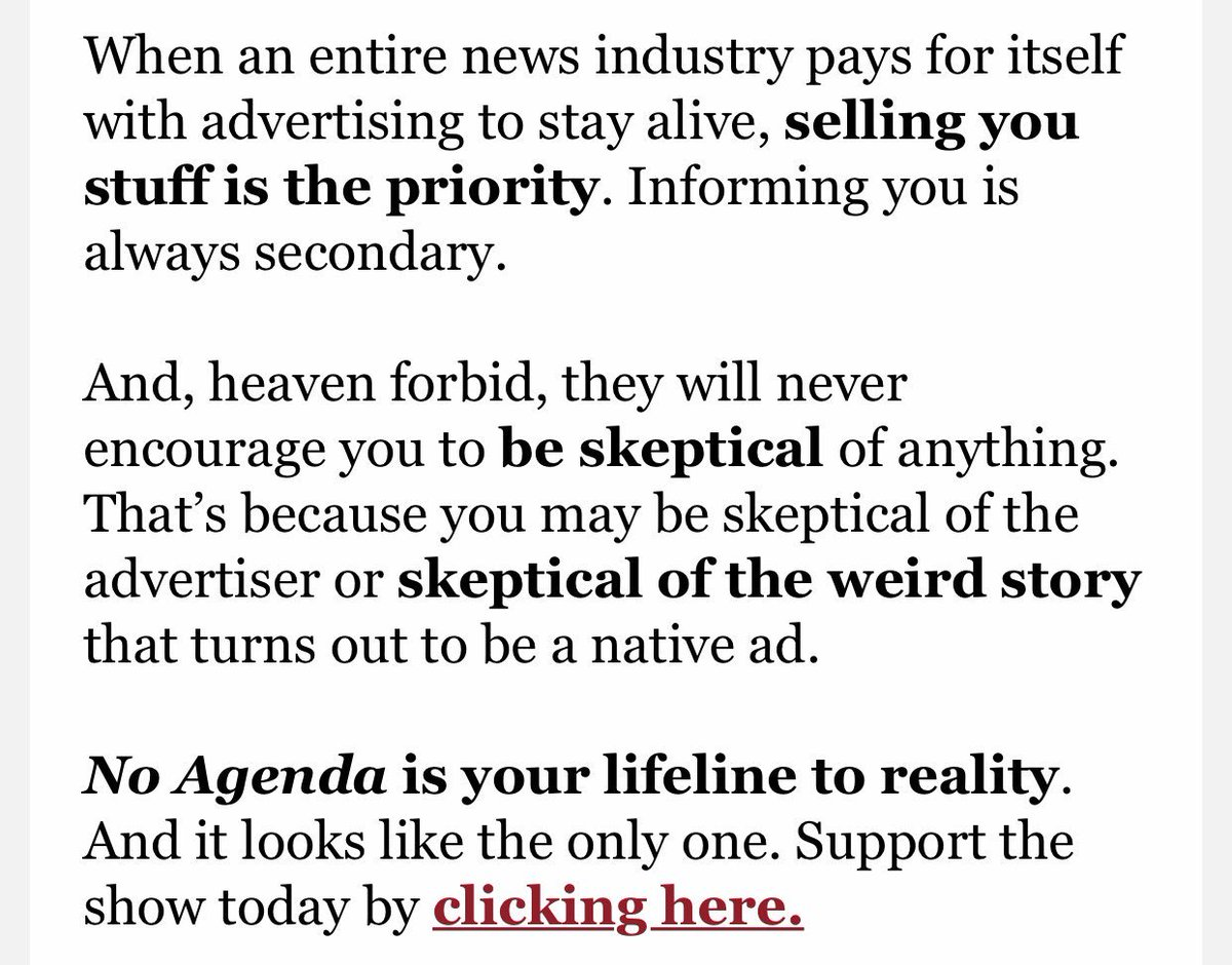 This is why I support No Agenda, so they don't have to have advertisers. #ITM @THErealDVORAK @adamcurry https://t.co/pqqwVfaXOo