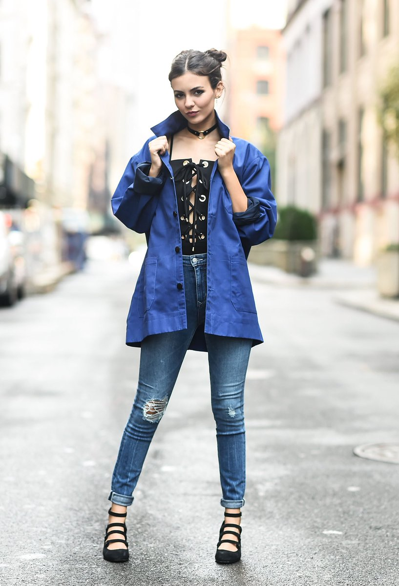 Victoria Justice On Twitter Jumping Into NYFW Like Wearing This Blue Jacket To Honor Legendary Fashion Photographer BillCunningham