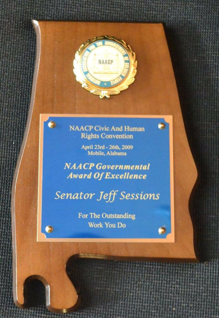 Does the #NAACP @NAACP normally give these out to #racists? #JeffSessions https://t.co/GUE4YGYetb