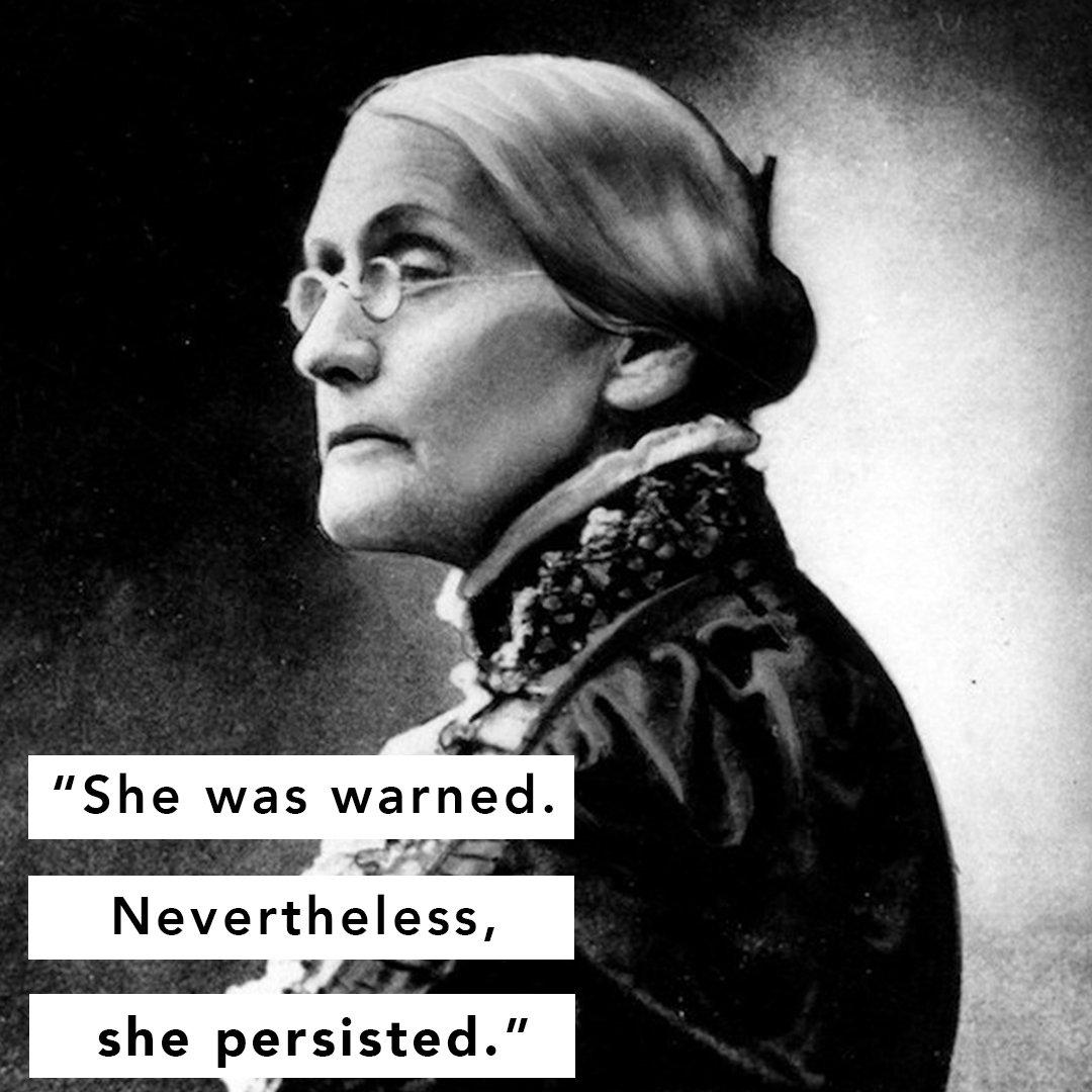 Last night @SenWarren added to a long, proud history of women refusing to be silenced. Susan B. Anthony was warned. #ShePersisted too.