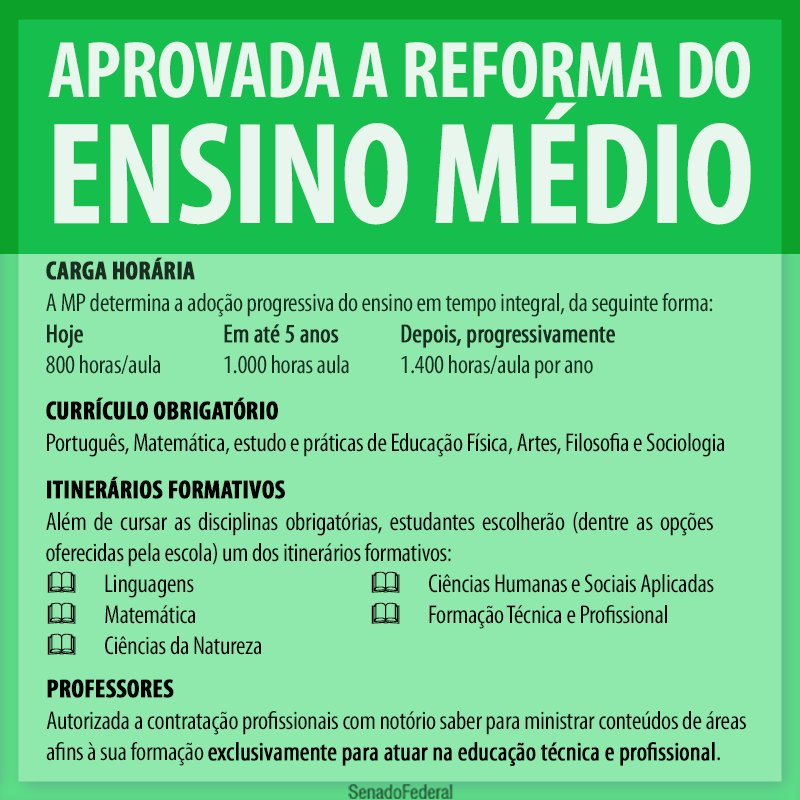 Aprovada a MP da reforma do ensino médio. https://t.co/LFeIslAxqn