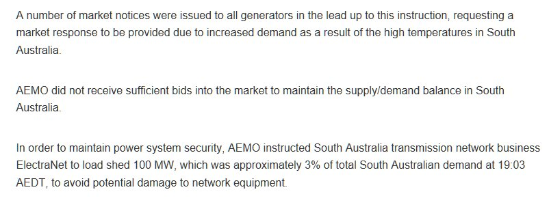 AEMO required load shedding in South Australia last night as generators failed to respond to calls for market to meet demand https://t.co/59BynKKSMr
